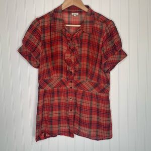 Anthropologie Odille short sleeve plaid shirt 12